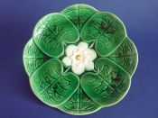 Large Adams and Bromley Majolica 'Water Lily' Plate c1880 #3
